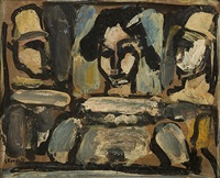 reverie: trois clowns by georges rouault
