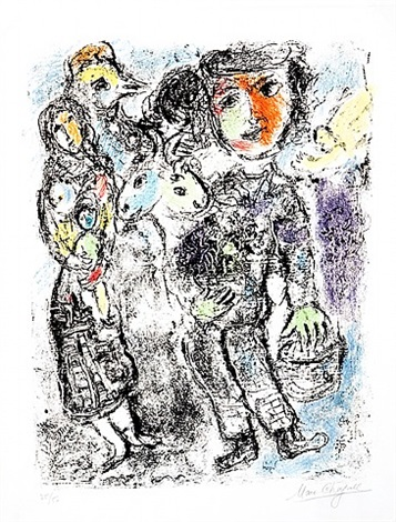 pair of peasants by marc chagall