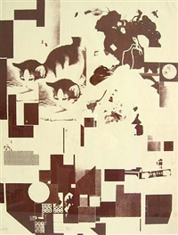 'katzen' plate 6 from the portfolio <i>merz mappe 3</i> by kurt schwitters