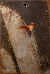 lotus house benefit / hummingbird metal hole by dan witz