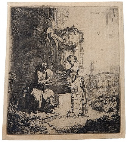 christ and the woman of samaria among ruins by rembrandt van rijn