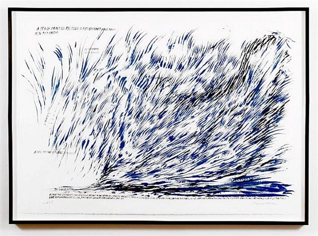 untitled (a sea of grinding tectonic plates...) by raymond pettibon