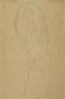 woman with long wavy hair by gustav klimt