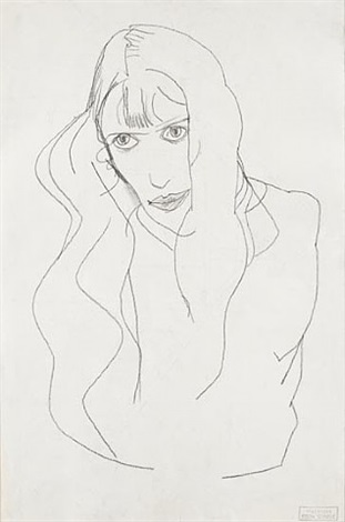 portrait of a woman (wally)/old brick shack in carinthia (verso) by egon schiele