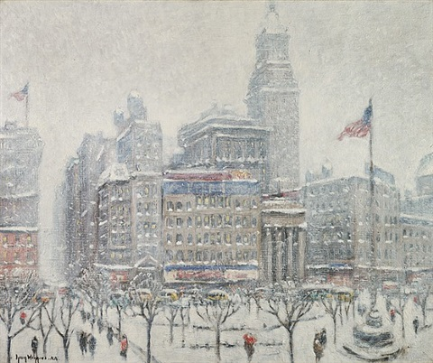 union square, winter by guy carleton wiggins