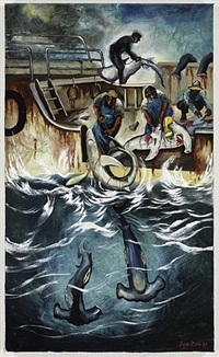 catching sharks (hammer heads) by sue coe