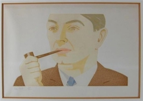 man with pipe by alex katz