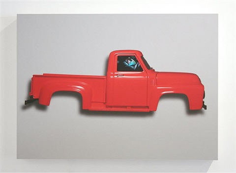 registered driver flat series: red 1963 ford pickup, large version by peter sarkisian