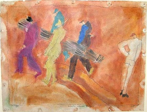 workers carrying log by lyonel feininger