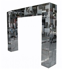 a kingsize cityscape chrome headboard by paul evans
