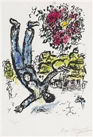 the artist's bouquet (plate 1 from behind the looking glass) by marc chagall