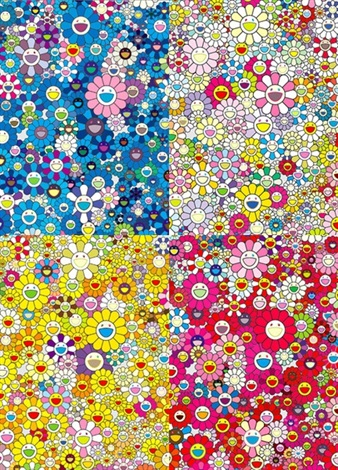 an homage to ikb 1957 b an homage to mono gold 1960 b an homage to mono pink 1960 b an homage to yves klein multicolor a 4 works by takashi murakami
