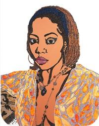 portrait of lovely six foota #1 (edition 4/50) by mickalene thomas