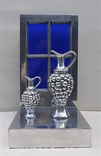 2 jugs against a blue window by clive barker
