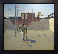 ball player on court by hughie lee-smith