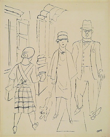 berlin street scene (couple with dog) by george grosz
