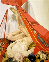 nude with red model airplane by philip pearlstein