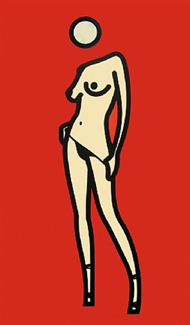 woman taking off pants 5 by julian opie