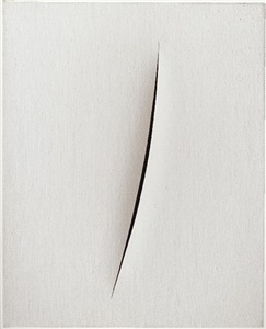 white marble and paint, from antiquity to now by lucio fontana