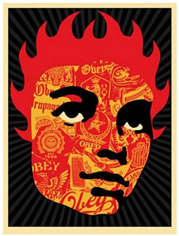 collage girl by shepard fairey