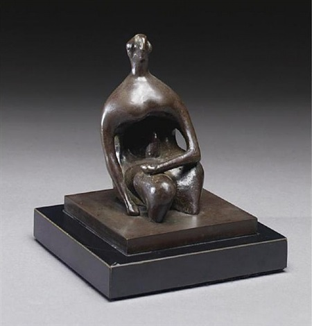 seated figure: thin head by henry moore