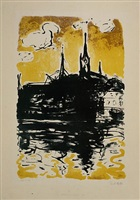 church and boat, sonderburg by emil nolde