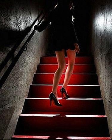 girl on red steps by david drebin