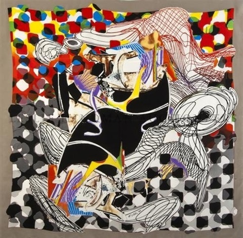 the whale watch shawl: hand signed silkscreen on silk in red silk presentation gift box by frank stella