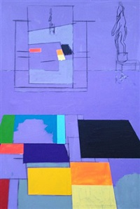 two paintings, a sculpture and a painting of a sculpture by bruce mclean