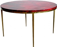 an italian aldo tura round lacquered & brass table by aldo tura
