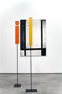 'tableau 3 with orange-red, yellow, black, blue and grey' in time and space by melissa gordon
