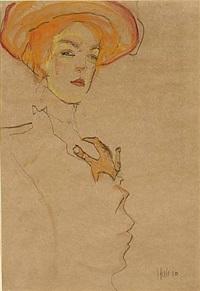 portrait of a woman with orange hat by egon schiele