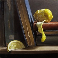 peeled lemon with antique books (sold) by michael naples
