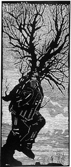 walking man turning into a tree by william kentridge
