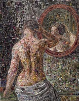 female model standing before a mirror, after c. w. eckersberg by vik muniz