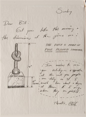 letter to william copley about the sculpture the big change by horace clifford westermann