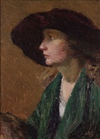 the maroon hat by edward henry potthast