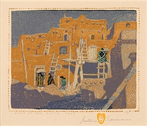 night of the fiesta, taos by gustave baumann