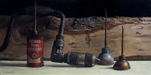hand drill with oil cans (sold) by michael naples