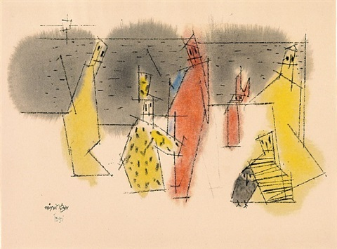 untitled (six figures and one owl) by lyonel feininger