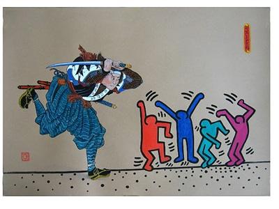 untitled (kuniyoshi and keith haring) by oleg petrenko