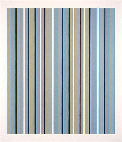 turquoise, blue, yellow, red with black and white, increased black beat by bridget riley