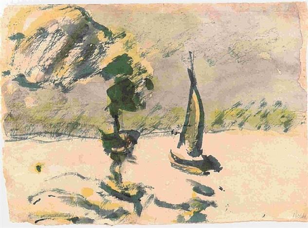 dampfer und segler by emil nolde
