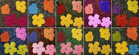 flowers, after warhol (1-10) by vik muniz