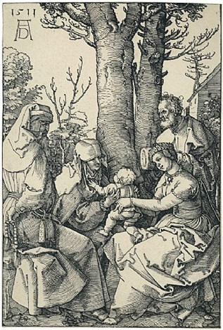 die heilige familie mit joachim und anna unter dem baum – the holy family with joachim and anna, under a tree by albrecht dürer
