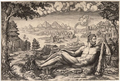 hercules resting from his labors by giorgio mantovano ghisi