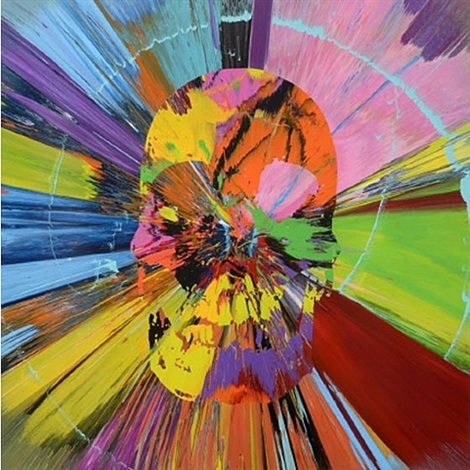 beautiful amaethon death drive painting by damien hirst