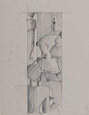 figurenkomposition mit treppe by oskar schlemmer