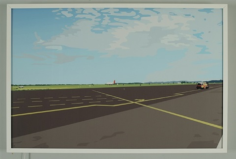 you walk to the plane. it is hot. you stand still. close your eyes by julian opie