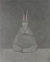 rabbit at desk by shao fan